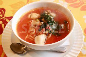 トマト系スープパスタの写真・フォト素材