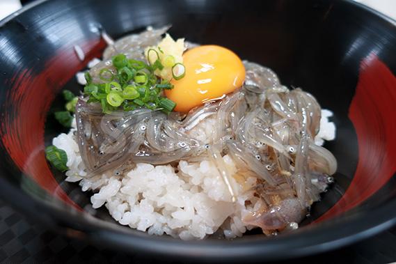 生シラスの漬け  生姜と卵黄の写真・フォト素材
