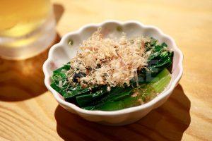 小松菜煮びたしの写真・フォト素材